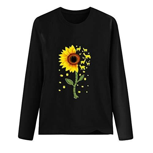 Fenverk Pullover Damen Sweatshirt Damen Herbstjacke Damen Damne Oberteile Mit Leopardmuster Casual Langarm T-Shirt O-Ausschnitt Hemd Mode Basic Tee Herbst Winter(F Schwarz,XXL)