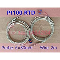 WowObjects 1Pc 1x PT100 Temperature Sensor 6mm*80mm RTD Probe 3 Wire 2m Platinum Resistance Silver Plated High Temperature Wire