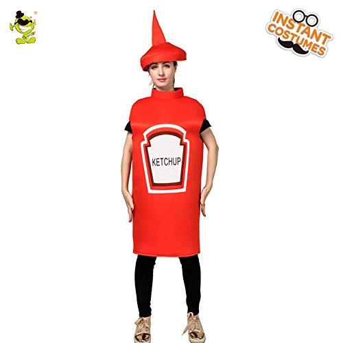 Kostüm Kinder Ketchup - GAOGUAIG AA Neue frauen Ketchup Kostüm Damen Roten Ketcup Overall Mit Hut for Karneval Party Rolle Spielen Cosplay Kostüm Kostüme SD (Color : Onecolor, Size : Onesize)