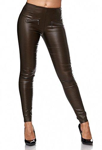 Pantaloni stretch da donna in pelle sintetica Treggings in ecopelle D2156 cachi