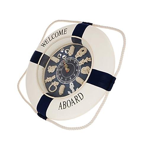 Generic 35cm Hängen Maritim Wandtür Uhr mit Rettungsboje Ring für