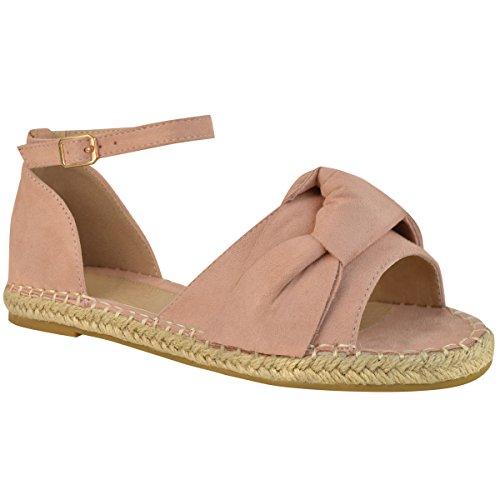 Sandales plates - bride cheville/bout ouvert/noeud/style espadrille - femme Faux suède rose pastel/doux/bohème
