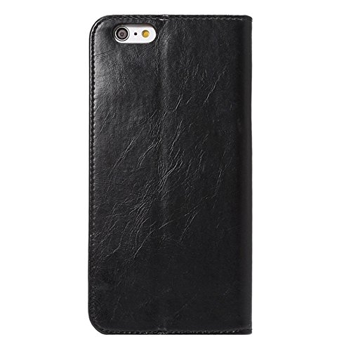 Phone case & Hülle Für IPhone 6 Plus / 6S Plus, Crazy Horse Texture Magnetic Horizontale Flip Leder Tasche mit Halter & Card Slot ( Color : Black ) Black