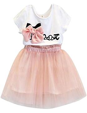 L'abito della Familizo ragazza di 2PCS copre la maglietta + pannello esterno della stampa del bowknot