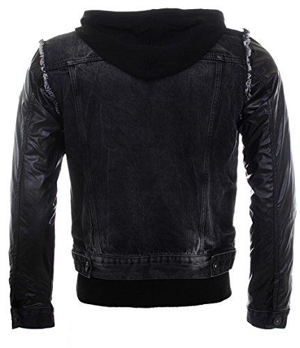Cipo & Baxx 2in1 jeans jacket veston 1290 bleu noir double layer vintage used destroyed look homme Noir