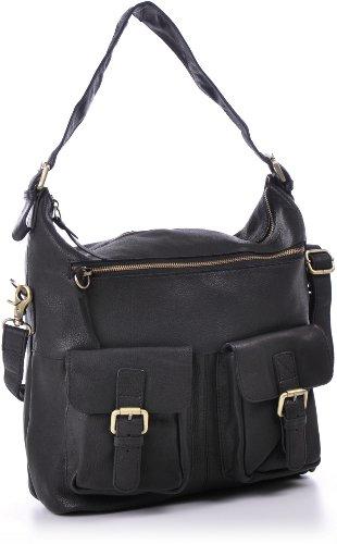 Masquenada, Cntmp, sacs à bandoulière, sacs de dames hobo, sacs à main, sacs à bandoulière, A4, cuir, 30x33x13cm Noir - Noir