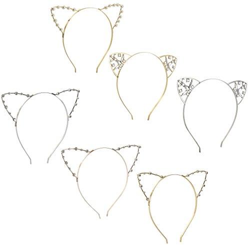 Haarreif mit Katzenohren, 6 Stück, Strasssteine, Perlen, Kätzchen, Cosplay, Kostüm, Haarschmuck, für Motto und Halloween-Party, in 6 verschiedenen Farben und Stilen, Silber, ()