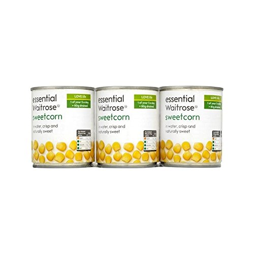 Sweetcorn Croquante Sweet & Waitrose Essentielle 3 X 195G - Paquet de 2