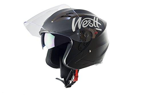 Westt® Jet · Casco de moto negro mate · Incluye gafas de sol (doble visor) · ECE certificado · incluye bolsa · ideal para scooter choper moto · Urbano Moto motocicleta Urban Biker