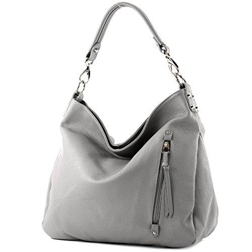 modamoda de - ital. Ledertasche Shopper Damentasche Schultertasche Leder Nappaleder T121, Präzise Farbe:Grau Leder (Grau Handtaschen Leder)