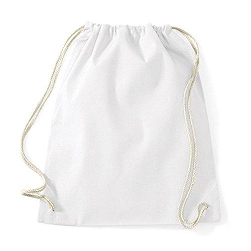 Turnbeutel unbedruckt aus Baumwolle 12 Farben verfügbar Sportbeutel (weiß) -