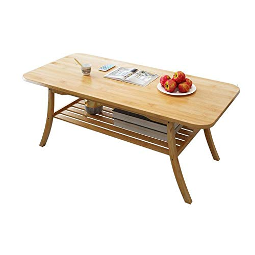 Tables CJC Consoles Basse, Bambou Naturel Finition Rectangulaire, 2 Couches Stockage Rack, Undershelf Multifonction (Couleur : Wooden Color)
