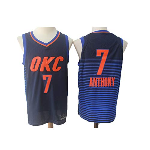 Carmelo Anthony (ATI NICE NBA Oklahoma City Thunder # 7 Carmelo Anthony Basketball-Trikots Fan Mesh Basketball Wettkampfteam Ärmellose Herrenweste Basketballuniform,S:165cm~170cm)