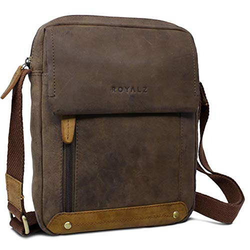 ROYALZ Leder Umhängetasche für Herren klein kompakte Design Ledertasche Messenger Bag Vintage-Look, Farbe:Montana Braun