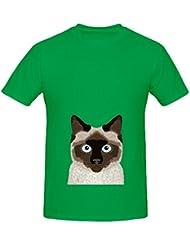 Ezra Siamese Cat Cute Kitten Retro Cat Art Mens Crew Neck Custom Tee XXXX-L