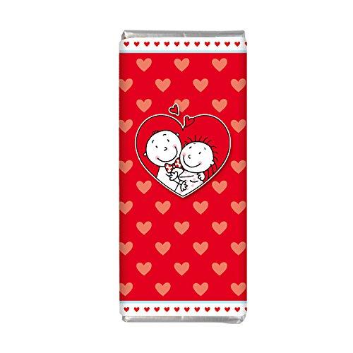 """LIEBE 2er Tütchen Mini Schokolade STEINBECK Vollmilch Schokolade""""I love you"""" Tafel 2er Set Geschenk süß Mitgebsel Valentinstag Herzen"""