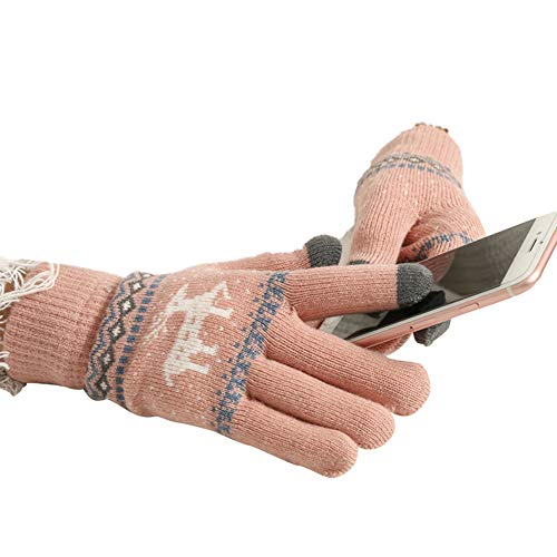 Scettar Weihnachten Damen Hereen Snowprint Keep Warm Smartphone Touch Screen Handschuhe (Pink)