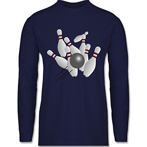 Bowling & Kegeln - Kegeln alle 9 Kegeln Kugel - Longsleeve / langärmeliges T-Shirt für Herren Navy Blau