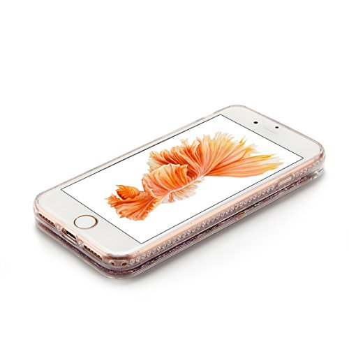 Cover iPhone 7 Custodia iPhone 7 Liquido Anfire Trasparente Rigida Duro Plastica PC Case per Apple iPhone 7 (4.7 Pollici) Sabbie Mobili Shell 3D Bling Glitter Floating Quicksand Copertura Hard Shock S Rosa