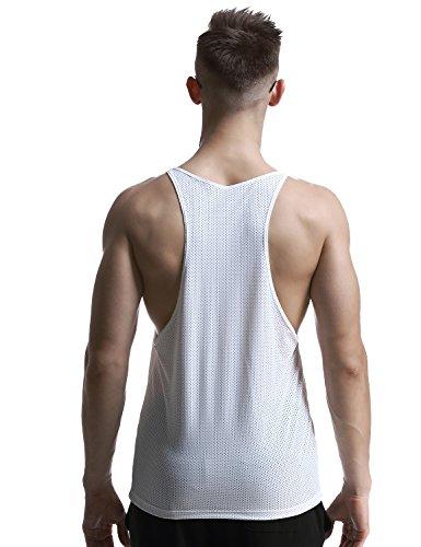 SEOBEAN Herren Mesh Fitness Gym Sleeveless Tank Top 2831 weiß
