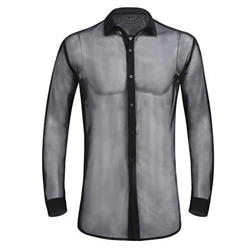 Agoky Herren Longsleeve Langarm Shirt Slim fit T-Shirt Rundhals Einfarbig Tee Casual Netz Hemd sexy Oberteile transparent Mesh Top Party Clubwear M-XL Schwarz B XXL