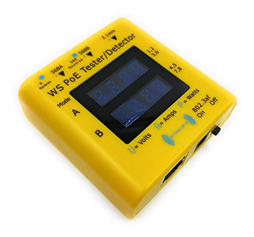WS-PoE-Tester - Display power over ethernet operating values, from 9v to 56 volts, 0-5 amps, up to 120 watts, in 802.3af, 802.3at and passive modes - with active load at 10/100/1000 data rates by Wifi-Texas