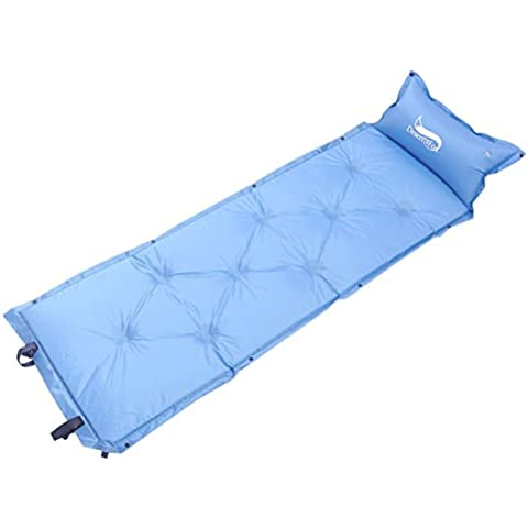 Bettertol Colchón olchón hinchable Automático Tapetes de Camping Rodar Con la almohada, Fuera de la bolsa,puede ser empalmado,180×53×3cm (Azul)