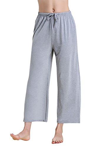 Dolamen Mujer Pantalones de pijama Fibra de carbón de bambú, Parejas Pantalones Boxeador largo Casual Ropa de dormir Cintura elástica bolsillos Tiempo libre Yoga Deportes (XXXX-Large, Gris)