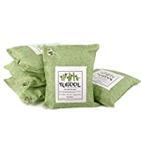 YUKOOL Charcoal Air Purifying Bags, 100% Bamboo Activated Charcoal Air Purifier and Air Freshener, Eco-Friendly, 5pcs,5 x 200g Green