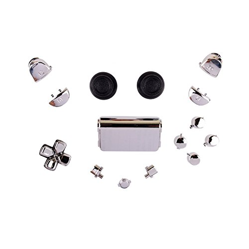 PS4 Playstation 4 Controller Button Modding Set Buttons Thumbsticks D-Pad Knöpfe (chrom silber)(JDM-001,011,020,021)