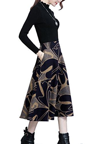 Tribear Damen Vintage Winter Herbst tartan mit hoher Taille flared röcke knielange Kleider 8840Farbe