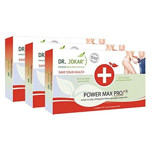 Power Max Pro von Dr. Jokar 3-Monate (3 x 30 Potenz-Kapseln) mit L-Arginin und Arganextrakt für Potenz, Libido und besseren Sex. Kostenlose Lieferung