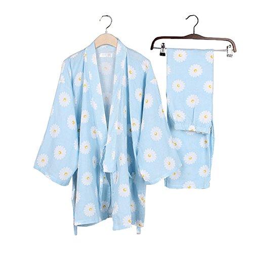 Baumwolle Lange Ärmel Robe (Frauen japanischen Stil Lange Ärmel Robes Baumwolle Kimono Pyjamas Anzug Dressing Kleid Set-Pink Flower)