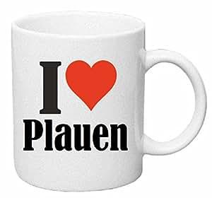 """Tasse de Café .. Tasse à Thé … Coffee Mug """" """"I Love Plauen"""" ... Hauteur 9 cm de Diamètre 8 cm Volume 330 ml ... Le cadeau idéal pour leur Partenaire - Collègue - Amis"""