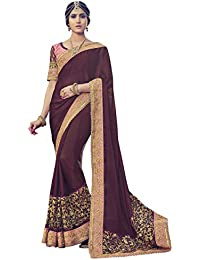 Shangrila Woman's Brown Colour Georgette Embroidered Saree With Blouse Piece