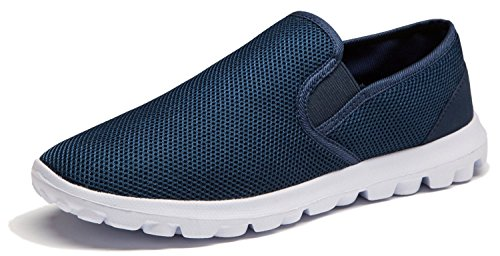 Vibdiv Men's Breathable Mesh Lightweight Slip On Boat Loafers Outdoor Fashion Casual Walking Shoes(EU 45 UK 10 Men,Blau)