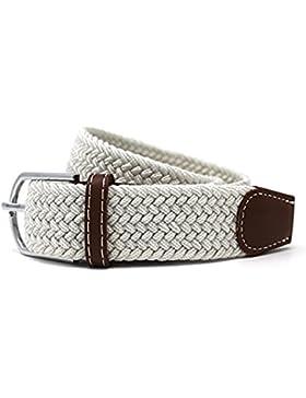 Cinturones elásticos Tela para Hombre Tejido Cinturón Trenzado Estiramiento Cinturón con correas de cuero PU durable...