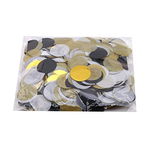 Idiytip 5000 Teile/Paket Kreise Tissue Papier Konfetti für Party Dekoration, Gold + Silber + Schwarz