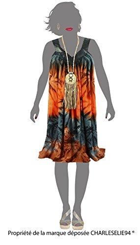 Charleselie94® - Robe été ample bohème grande taille gris NADEA GRIS Gris