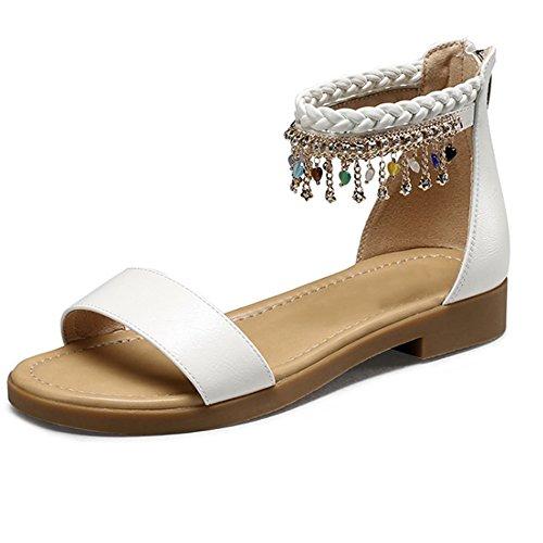 XIAOLIN Sweet Lady sandales plates clip Toe sandales style ethnique sandales femmes Summer Beach Shoes Bohême style unique conception élastique sandales plates talon hauteur 2,5 cm (taille facultative)
