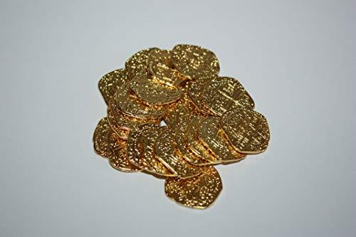 Haltrade 25x Goldmünzen aus Metall Piratenschatz Münzen Gold Metall Goldschatz Piratengold Schatzsuche (Metall Pirat Kostüm)