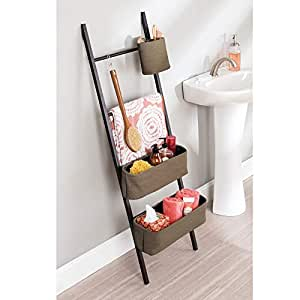 InterDesign 86381 Formbu Wren Free Standing Bathroom Storage Ladder with Bins for Towels, Beauty Products, Lotion, Soap, Toilet Paper, Accessories - Java/Brown Formbu Wren Bath Ladder