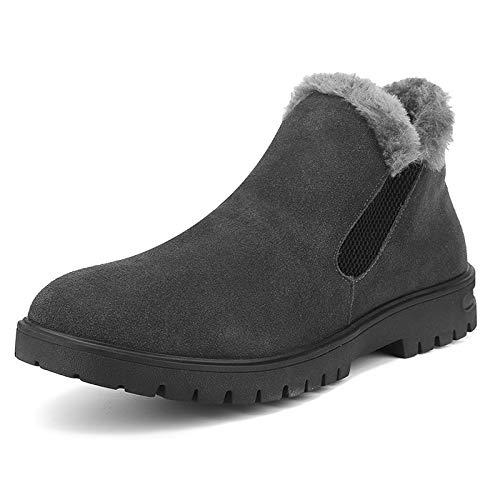FHCGMX Bottes de Neige Hommes Chaussures Faux Suede Chaussures d'hiver Hommes Bottes Slip on Casual Moto Bottines 39-44
