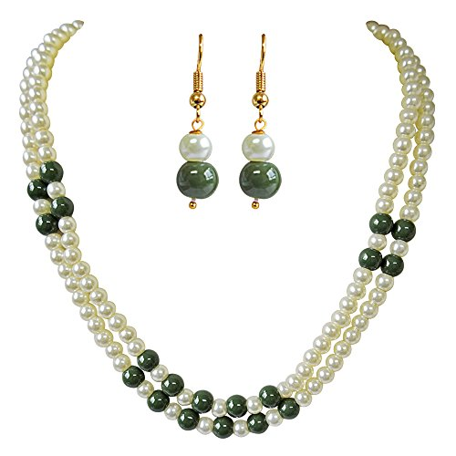 Surat Diamonds 2 Line Green & White Shell Pearl Necklace Earring Set for Women (PS283)  available at amazon for Rs.159