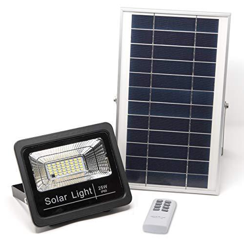 Luz Solar LED Exterior Mando a Distancia 25W, Foco Solar Luz Cálida 2700K, Lámpara Solar Hasta 15 HORAS de Luz, Iluminación Solar 1000 LM, Aplique Solar 40 LEDS