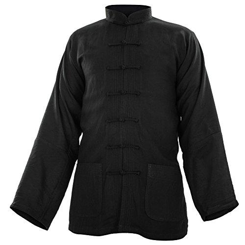 wu designs Baumwolle (Leicht) Kung Fu & Tai Chi Shirt Stehkragen Langarm - Taiji Anzug Beige 165
