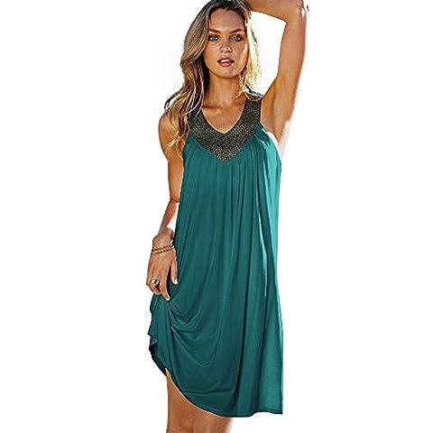 Damen Ärmellos V Ausschnitt Strass Sommer Strandkleid Loose Rock Casual A-Linie Partykleid Elegant Frauen