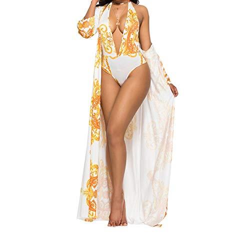 Duevin Damen Bikini Bademode Monokini Badeanzug Strandmode Sexy Slimming Bademode Badeanzug Damen Neckholder Ausschnitt 3 Stück Bademode Kleid - - Large (Kleid Bademode Stück Ein)