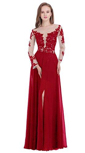 Poplarboy Damen Elegant Abendkleid Rundhals Schwarze Spitzen Brautjungfer Ballkleider Vintage Cocktailkleid Langes Kleid Fuchsie