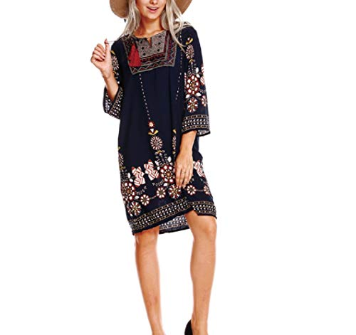 (FuweiEncore Sommer Frauen Ethnischen Retro-Stil Kleid Print Kleid für Mädchen)